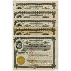Chesapeake & Ohio Northern Railway Co. 1914 Lot of 5 Stock Certificates.