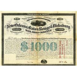 New Orleans, Baton Rouge & Vicksburg Rail Road Co., 1870 Cancelled Bond
