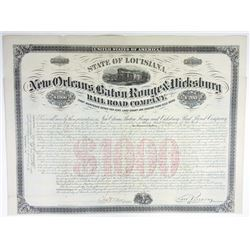 New Orleans, Baton Rouge & Vicksburg Rail Road Co., 1872 Issued Bond