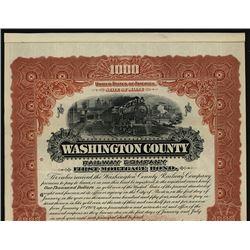 Washington County Railway Co. 1904 Specimen Bond.