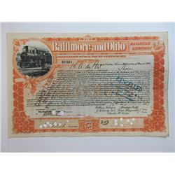 Baltimore & Ohio Railroad  Share Certificate Issued to and signed by Henry Algernon du Pont