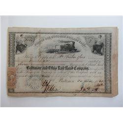 Baltimore & Ohio Railroad Co. 1863-64 Stock Certificate Grouping