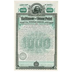 Baltimore and Drum Point Railroad Co., 1888 Issued Bond.