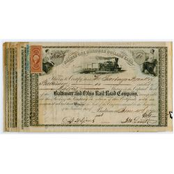 Group of 15 Baltimore & Ohio Railroad Share Certificates, 1865-18760s