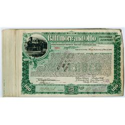Group of 20 Baltimore & Ohio Railroad Share Certificates, 1899, Train in Circle