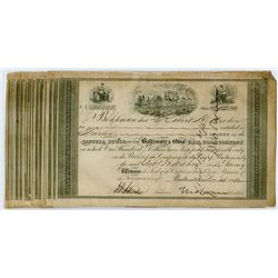 Group of 25 Early Baltimore & Ohio Railroad Share Certificates