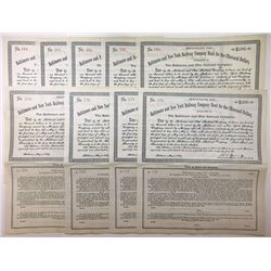 Group of 9 Baltimore and New York Railway Company $1000 Bond, 1889
