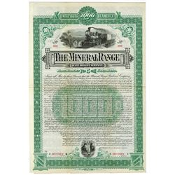 Mineral Range Railroad Co. 1888 Specimen Bond.