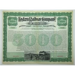 Eastern Railway Co. of Minnesota - Northern Division, 1898 Specimen Bond.