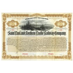 Saint Paul and Northern Pacific Railway Co., 1883, Specimen Bond.