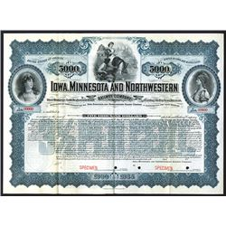 Iowa, Minnesota and Northwestern Railway Co. 1900. Specimen Bond.