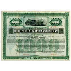 Louisville, New Orleans and Texas Railway Co., 1884 Specimen Bond