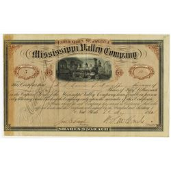 Mississippi Valley Co., 1872 Cancelled Stock Certificate