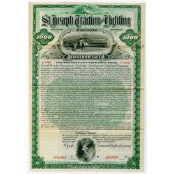 St. Joseph Traction and Lighting Co., 1893 Specimen Bond