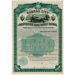 Kansas City and Independence Rapid Transit Railway, 1889 Specimen Stock Certificate