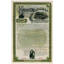 Kansas City Elevated Railway Co., 1892 Specimen Bond