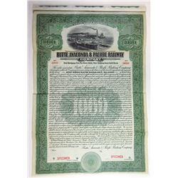 Butte, Anaconda & Pacific Railway Co. 1914 Specimen Bond.