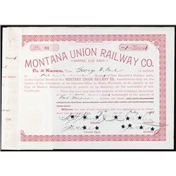 Montana Union Railway Stock Certificate With Charles Mellon Autograph.
