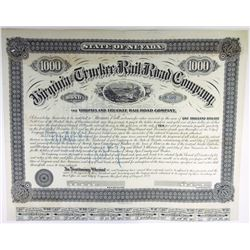 Virginia and Truckee Rail Road Co., 1874 Issued Bond.