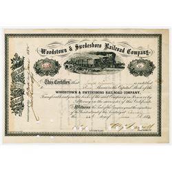Woodstown & Swedesboro Railroad Co., 1882 Stock Certificate