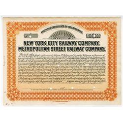New York City Railway Co. Metropolitan Street Railway Co., 1908 $10,000 Proof Bond