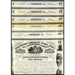 Stafford Meadow Coal Iron City Improvement Bonds, 1858 Lot of 8 Bonds