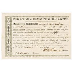 Union Springs & Levanna Plank Road Co., 1853 Issued Stock Certificate