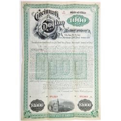 Cincinnati and Dayton Railway Co., 1887 Specimen Bond
