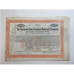 Cincinnati Inter-Terminal Railroad Co. 1908 Share Certificate Grouping
