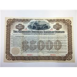 Cincinnati Northern Railroad Co., 1901 Specimen Bond