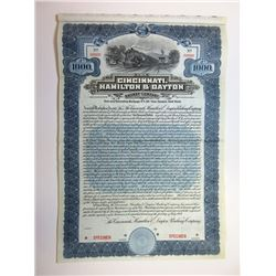 Cincinnati, Hamilton & Dayton Railway Co., 1909 Specimen Bond