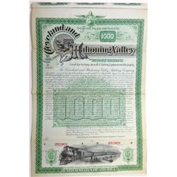 Cleveland and Mahoning Valley Railway Co., 1888 Specimen Bond