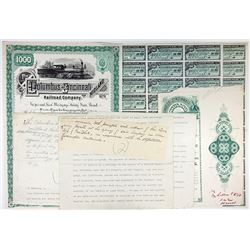 Columbus and Cincinnati Midland Railroad Co., 1884 Unique Approval Proof Bond With Correspondence.