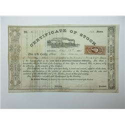 Lake Erie & Louisville Railroad Co., 1865 Serial #1 Stock Certificate.