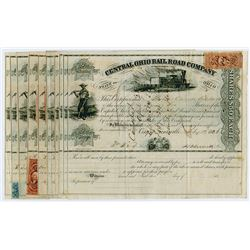 Ohio Railroad Co. 1866 to 1870 Issued Stock Certificates,