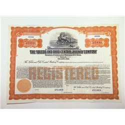 Toledo and Ohio Central Railway Co., 1935 Specimen Bond