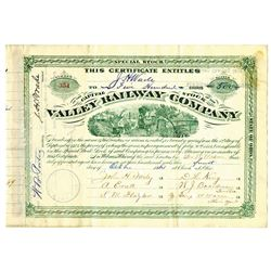 Valley Railway Co., 1884 Cancelled Stock Certificate Signed by H.M. Flagler and ITASB Jeptha Wade.