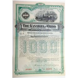 Kanawha and Ohio Railway Co., 1887 Specimen Bond