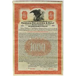Kansas, Oklahoma & Gulf Railway Co., 1928 Specimen Bond