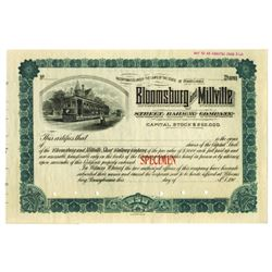 Bloomsberg and Millville Street Railway Co., ca.1900-1910 Specimen Stock Certificate