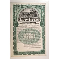 Easton and Northern Railroad Co. 1895 Proof Bond.