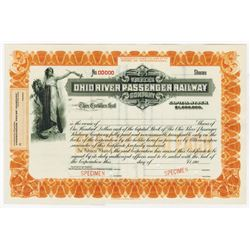 Ohio River Passenger Railway Co., 1900-1910 Specimen Stock Certificate
