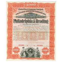 Philadelphia and Reading Railroad Co. 1890s Equitable Interest Certificate Specimen Bond