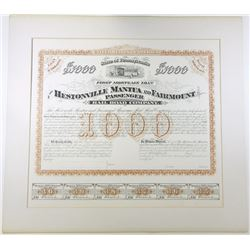 Hestonville Mantua and Fairmount Passenger Railroad 1875 Proof Bond.