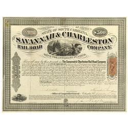 Savannah & Charleston Railroad Co., 1869 Issued Bond