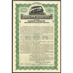Bartlett- Florence Railway Co. 1909, Issued Bond.