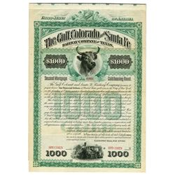 Gulf, Colorado & Santa Fe Railway Co. of Texas, 1885 Specimen Bond
