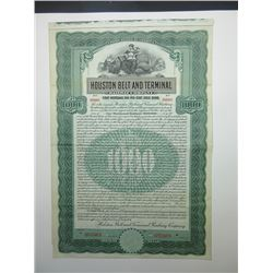 Houston Belt and Terminal Railway Co. 1907 Specimen Bond.