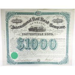 International Rail Road Co. of Texas, 1872 Issued Bond
