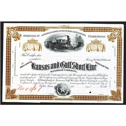 Kansas & Gulf Short Line Railroad Co., 1881 Unique Approval Proof Stock Certificate.